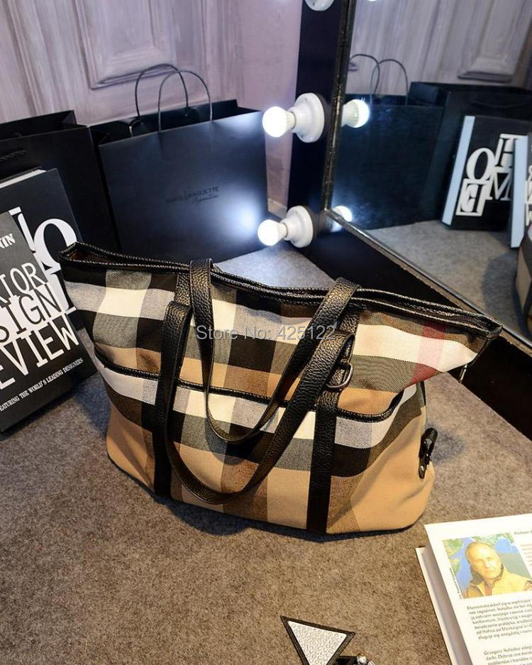 2015 Women Brand Designer Handbags Big Plaid Canvas Bag Shoulder Bags Tote Crossbody - Fiona LoVe Fashion store