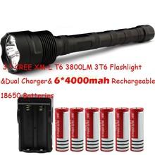 Big Discount! 3 * CREE XM-L T6 3T6 Flashlight 5 Mode 3800 Lumen XML T6 LED Flashlight + 6*18650 battery + Charger Free Shipping(China (Mainland))