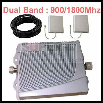 With cable & antennnas,900Mhz+1800Mhz dual bands mobile phone booster,GSM DCS mobile phone signal repeater(China (Mainland))