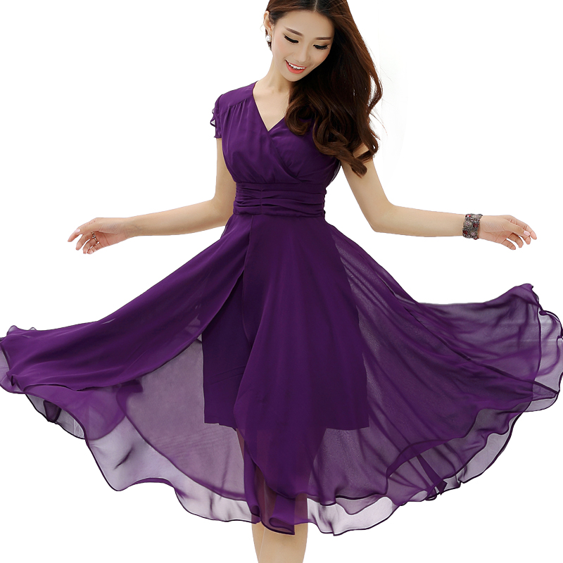 2016 new women's summer beach medium-long short-sleeve slim waist chiffon party dress plus size bohemian dresses vestidos Y588