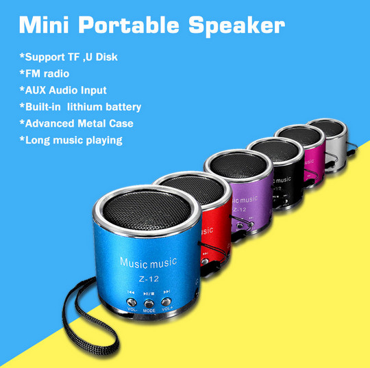 2016 cheap FM Radio Portable Speaker Z12 support USB Micro SD TF Card Mp3 Mini subwoofer Speaker Music box For iphone laptop pc(China (Mainland))
