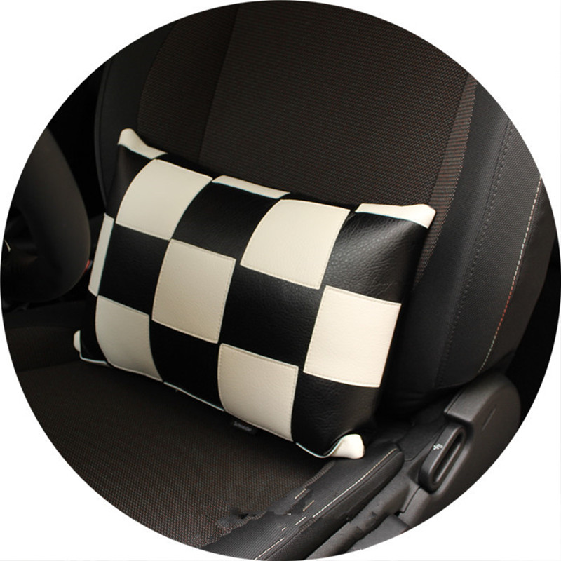 1pc car checkered seat lumbar support back pillow for mini cooper R50 R52 R53 R55 R56 R60 F55 F56 F54(China (Mainland))