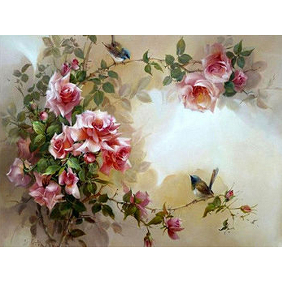 HZW-416 Western Style home decor 5D square Diy Diamond Painting Embroidery gift Red flowers and bird sticker gift 40X30CM