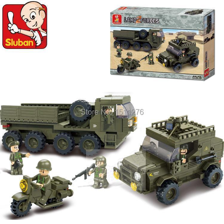 Sluban 455pcs Army troops Educational Toys APCs+Jeep+Motorcycles Bricks Building Block Toys scale models Enlighten Toys(China (Mainland))