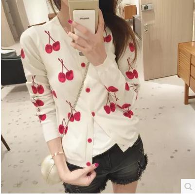 Free shipping 2015 Women new fall wild round neck long-sleeve knit cardigan womens cherry pattern 3 colors(China (Mainland))