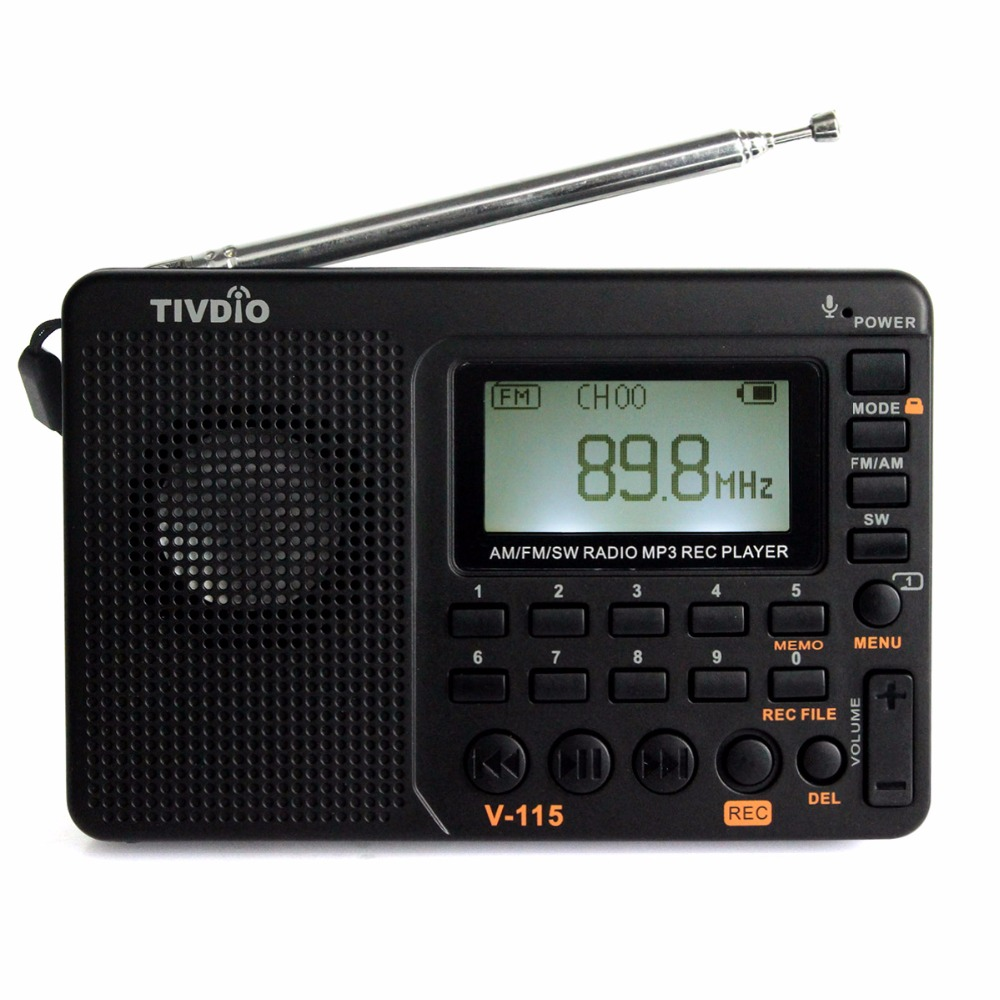 TIVDIO V-115 FM/AM/SW Radio Receiver Bass Sound MP3 Player REC Recorder Portable Radio with Sleep Timer F9205A
