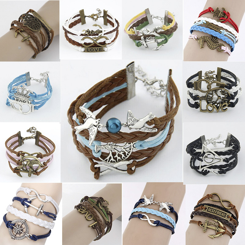 Christmas Gifts Fashion Leather Bracelet 2014 Vintage Bijoux Hunger Games&Anchor&Letter Charm Bracelets For Women Accessories(China (Mainland))