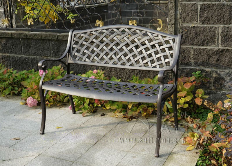 2 person antique cast aluminum good quality luxury durable park bench garden chair for outdoor(China (Mainland))