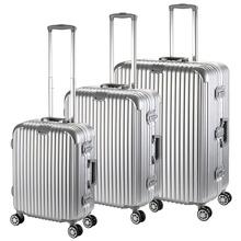Paquete de 3 plata 20 24 28 pulgadas de aluminio de lujo HardShell maleta del equipaje Set(China (Mainland))