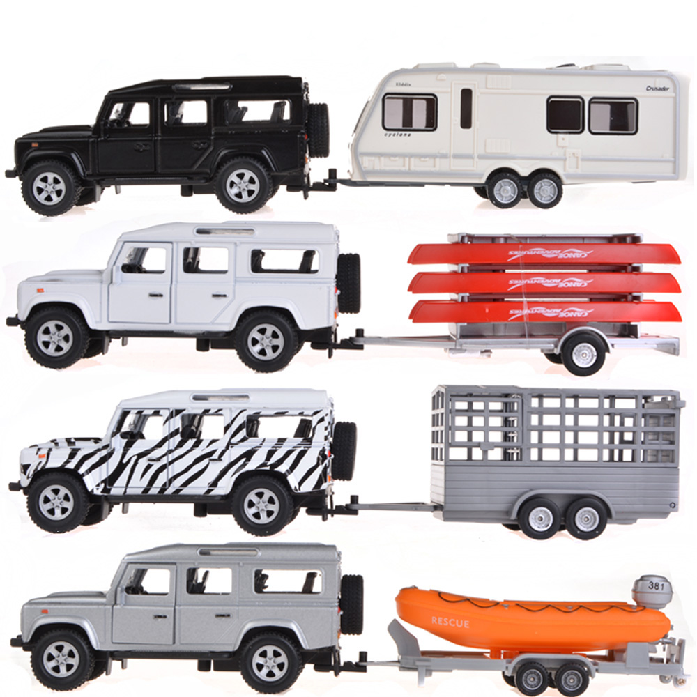 Collectible Alloy Diecast Car Model 1/31 Range Rover Defender Trailer With Pull Back Cars Model Kids Toys Gifts(China (Mainland))