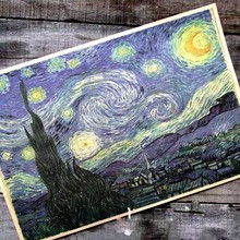 Wall stickers home decor Van gogh series oil painting starry night cafe Retro posters posters for walls(China (Mainland))