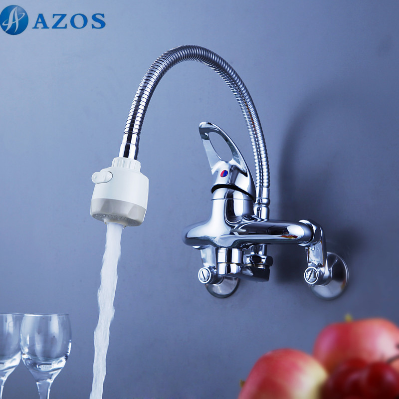 Kitchen Sink Faucets Rotatable Spring Hose Pull Out Down Spray Single Handle Waterfall Wall Mount Chrome Polish Mixer CFLT604(China (Mainland))