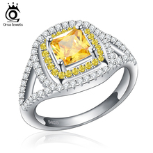 Luxury Princess Cut Yellow Zircon Wedding Ring with Micro Paved Clear and Yellow CZ Fashion Rings for Women OR50(China (Mainland))