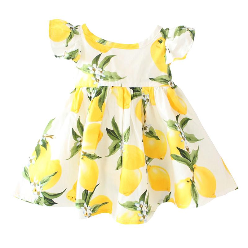 ZIKA Hot Sale New 2016 Summer Girl Dress Fruit Lemon Pattern Baby Girl Dress Children Sundresses Kids Fly Sleeve Dresses tyh-508(China (Mainland))
