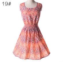 Kobieta plaża sukienka lato Boho drukuj ubrania bez rękawów sukienka na imprezę na co dzień krótkie Sundress Floral sukienka pawie pióra sukienki(China)
