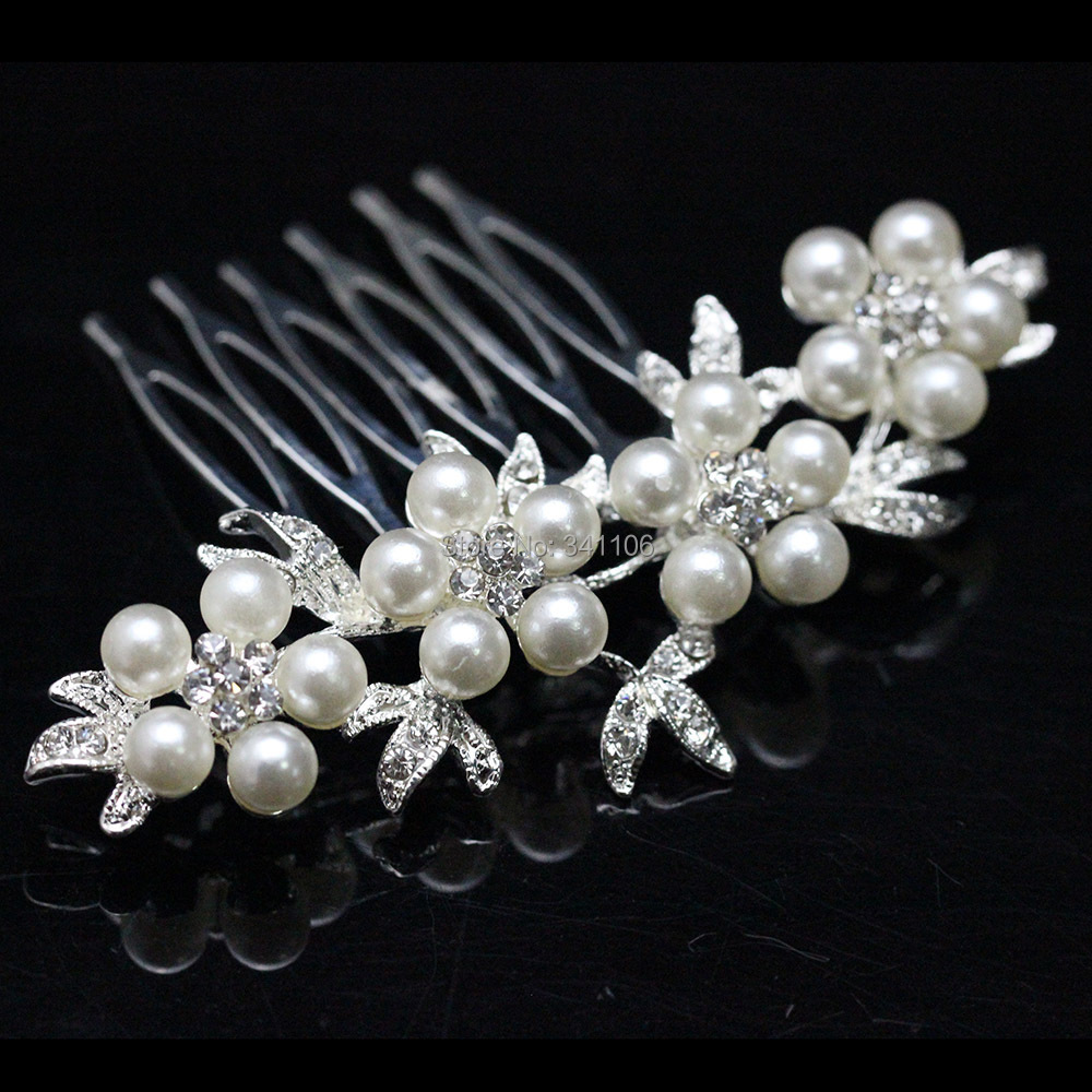 Top Pearl Crystal Bridal Hair Combs Hairpins Wedding Women Jewelry Accessories hairband FS002