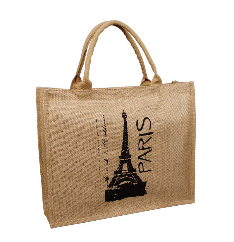 new design Jute bag Handbags (Paris Eiffel Tower pattern) Shopping Bags casual tote school bag eco-friendly women bag(China (Mainland))
