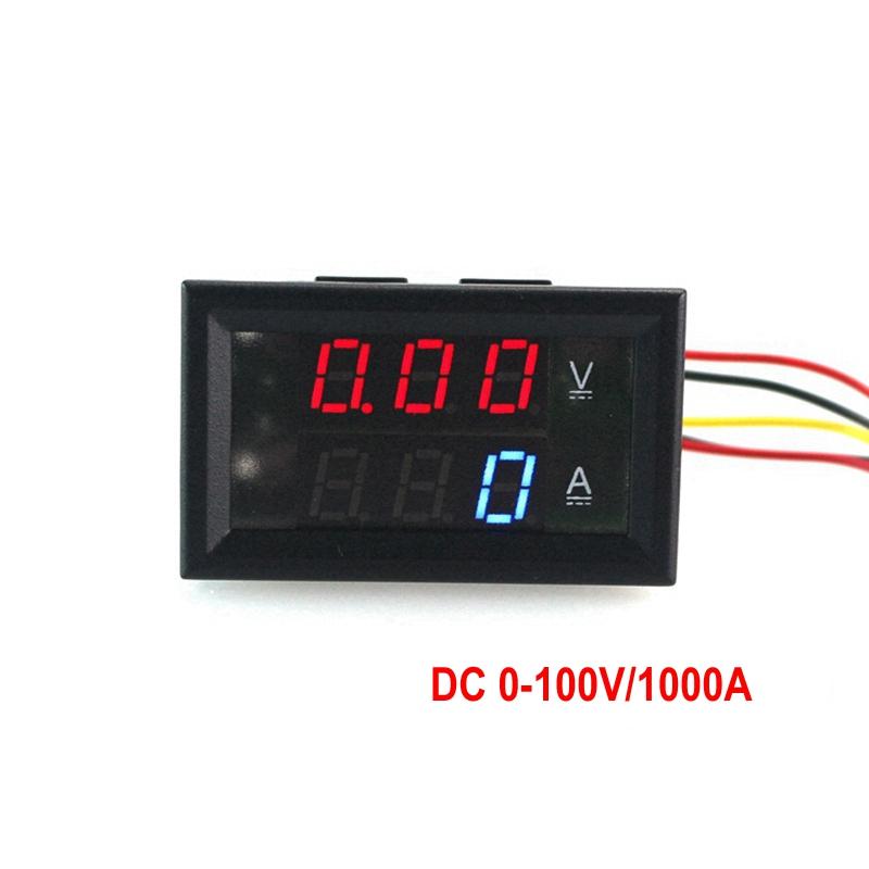 DC 0-100V/1000A Digital Voltmeter Ammeter Volt Voltage Amp Current meter with Red Blue Led Display