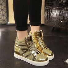 Fashion Women Casual Shoes New 2016 Spring High-Top Lacing Female Elevator Shoes Black Gold Silver Student Breathable Shoes 2.5A