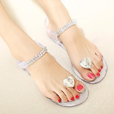 Nueva Summer Peach Piedras Sandalias Con Clip de Plástico de Punta Plana Zapatos Planos de la Jalea Sandalias Cristalinas Transparentes Zapatos de Las Mujeres(China (Mainland))