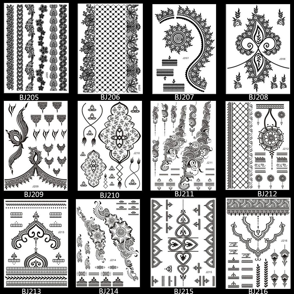 1PC Fashion Flash Waterproof Tattoo Women Black Henna Jewel Lace BJ014 Sexy Secret Arm Body Art Flower Temporary Tattoo Sticker