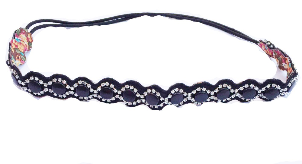 vintage bohemian ethnic vintage colored seed beads with rhinestone braided elastic headband hair band hair accessories(China (Mainland))