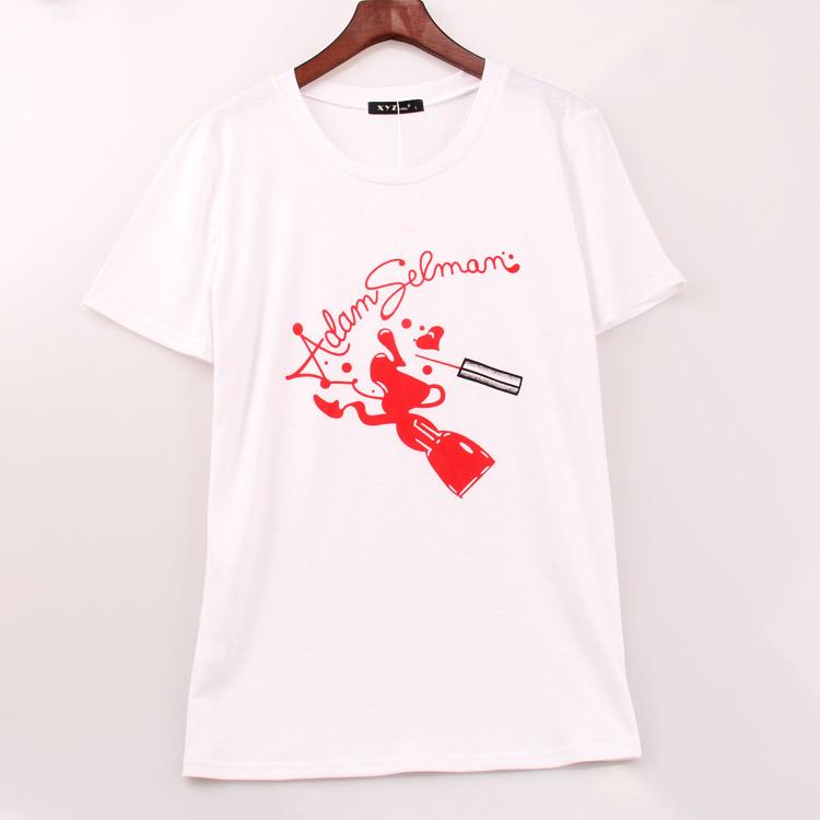 2016 New Arrivals T Shirt Women Nail Polish Painting Printed Printing T-shirt Women Casual Art Fashion Top Tee Shirt Femme(China (Mainland))