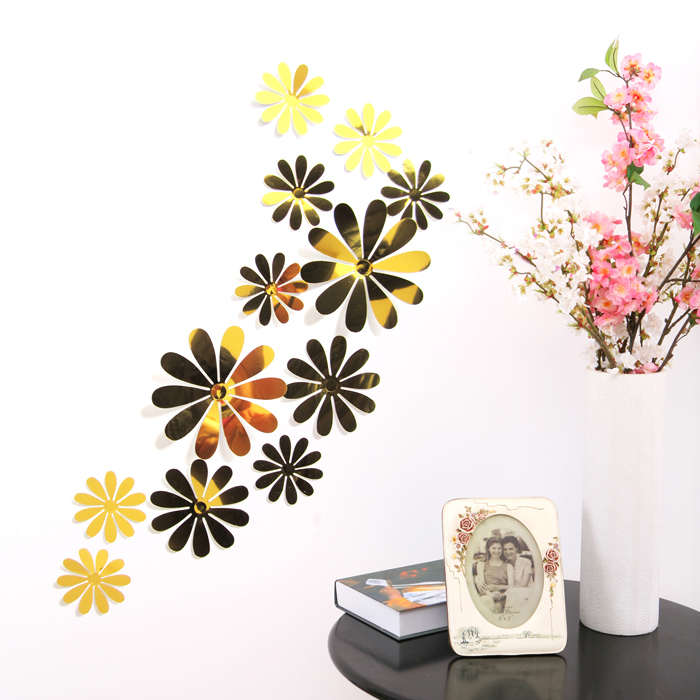 12Pcs Vinyl 3D Removable Decorative Silver Mirror Flowers Wall Sticker For Kids Room Christmas 3D Art Wall Decals Home Decor(China (Mainland))
