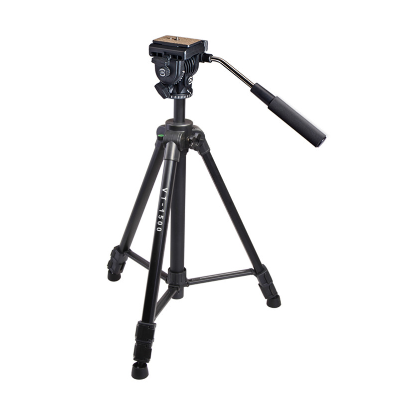 Kingjoy VT-1500 Popular Cheap Light Weight 3 Section Flip Lock Video Tripod with Fluid Damping Head for Camcorder For Promotion(China (Mainland))