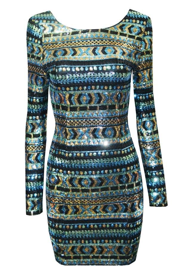 Renkli Payetli Elbise Renkli Geometrik Payetli