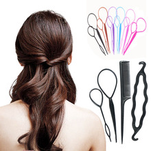 5 Colors Available 4 Pcs Hair Twist Styling Clip Stick Bun Donut Maker Braid Tool Set Hair Accessories Braider Tools(China (Mainland))
