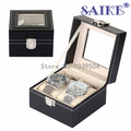 Free Shipping Black 2 Grids Brand Leather Watch Display Box Top Watch Storage Box Upscale Solid