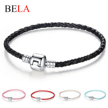 Autnentic Unique Silver Plated Clasp Genuine Leather Bracelet Fit Women Men Original Charm Bracelet Necklace DIY Jewelry PS3215