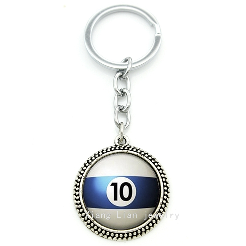 Trendy round Number 10 Pool Billiard Ball keychain white,blue Table Tennis pendant ring jewelry Best man Fathers Day gift T470(China (Mainland))