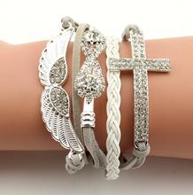 New Arrival Elegant Women Friendship Bracelets Full Stone Wings Cross Infinity Wholesale Price(China (Mainland))