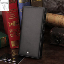 Drop shipping Classic Styles men s luxurious Genuine Leather Wallet Pure Black Wallet Free Shipping