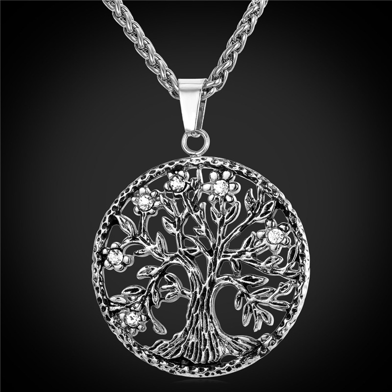 Vintage Life Tree Crysrtal Pendent & Necklace 18k Gold Plated Stainless Steel Woman Men Pendent Necklace Wholesale Jewelry P2102(China (Mainland))
