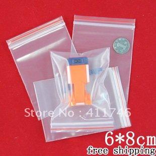 1000p/lot Factory price small reclosable ziplock bags 6*8cm(China (Mainland))