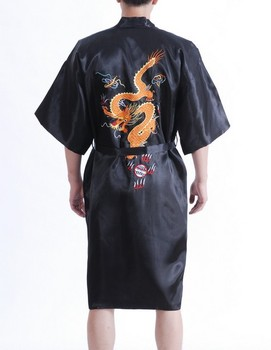 Dropshipping New Black Men's Silk Robe Gown Chinese Style Sleepwear Embroidery Dragon Bath Gown Size S M L XL XXL XXXL MR035