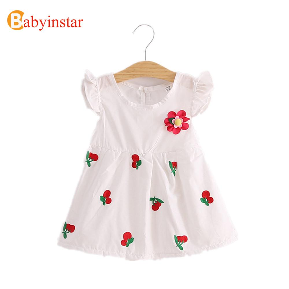 Summer Fashion 2016 Girl Dress Cute Strawberry Cherry Print Flower Embroidery Princess Dress Lovely Short Sleeve Kids Dresses(China (Mainland))