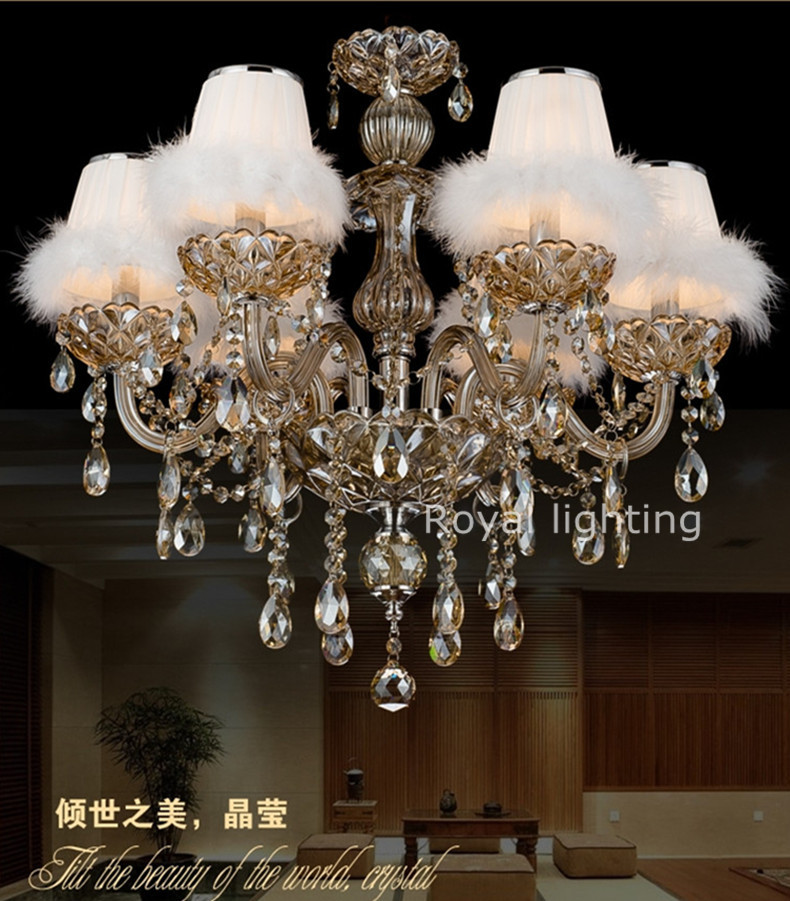 Discount crystal chandelier swam style fabric lampshades lamps wholesale price crystal candle chandelier lights for living room<br><br>Aliexpress