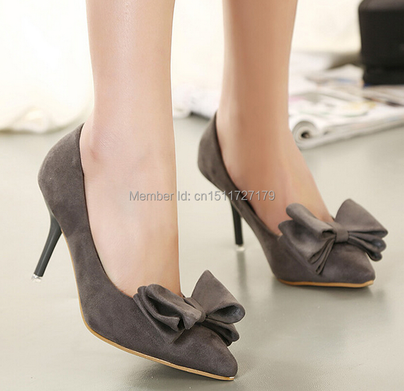 3 colors Hot 2015 new women pumps Classic Bow high heels Solid color Suede woman shoes Thin with tip Toe high heels