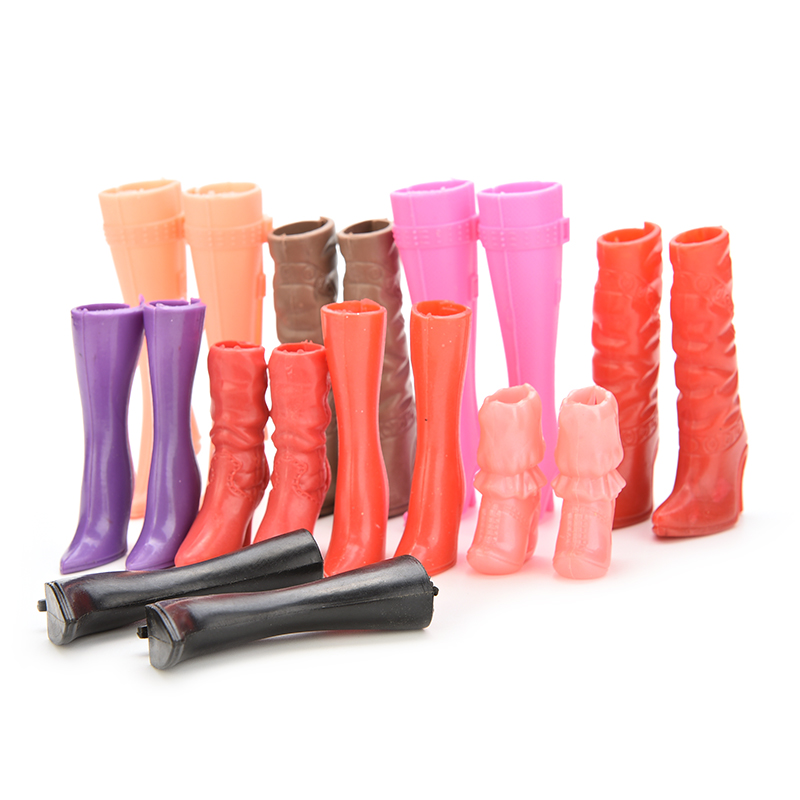 8 Pairs Mix Pairs High Heels Boots Shoes For Barbie Doll Designs Vary Multicolor Doll Accessories(China (Mainland))