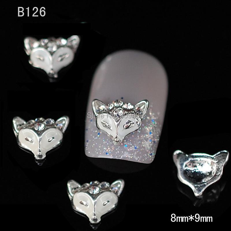 B126 50pcs/lot Hot Lovely Charm Nail Art 3D Black Fox Head Styling Glitter Alloy Rhinestone Studs Decoration DIY(China (Mainland))