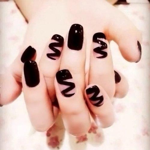 Acrylic Manicure Nails Tips 24pcs Rainbow Pattern Solid Color Black Nail Art False Nails Faux Fingernails Press On Nails(China (Mainland))