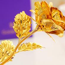 Новый 1 шт. день святого валентина подарок в золоте 24 К золота любовника роза с подарочной коробке бутон и цвету можно выбрать 25 * 8 см бесплатная доставка