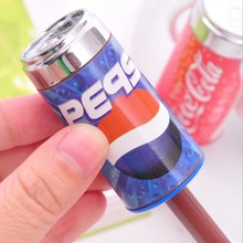 Cute Cola style pencil sharpener belt eraser combination stationary wholesale office school supplies free shipping 1605(China (Mainland))