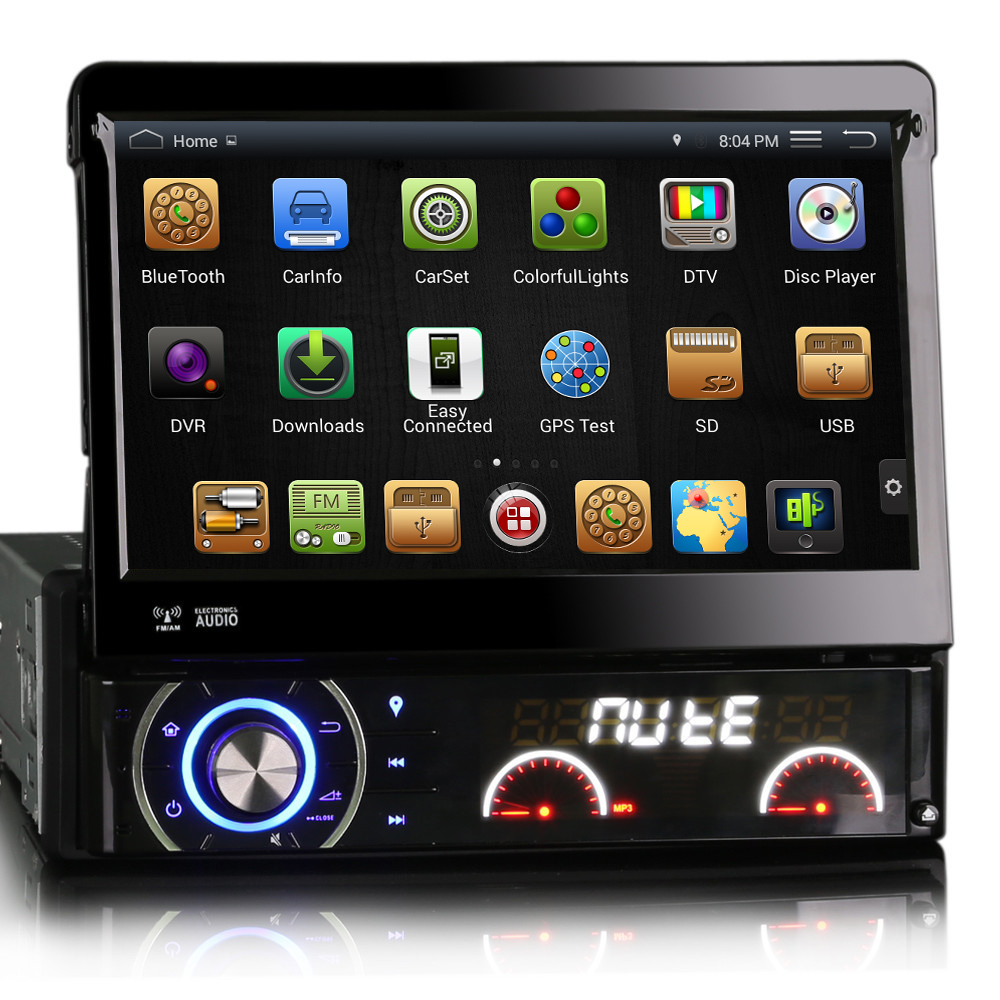 """7"""" Capacitive Detachable panel Single Din Car DVD GPS One Din Car Radio 1 Din Car PC with Android 4.4.4 1024*600 Resolution(China (Mainland))"""