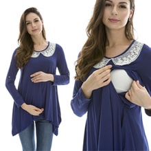 Maternity Nursing top Fashion Maternity Clothes Breast feeding Tops&T-shirt for Pregnant  Women Comfortable Modal lace patchwork(China (Mainland))