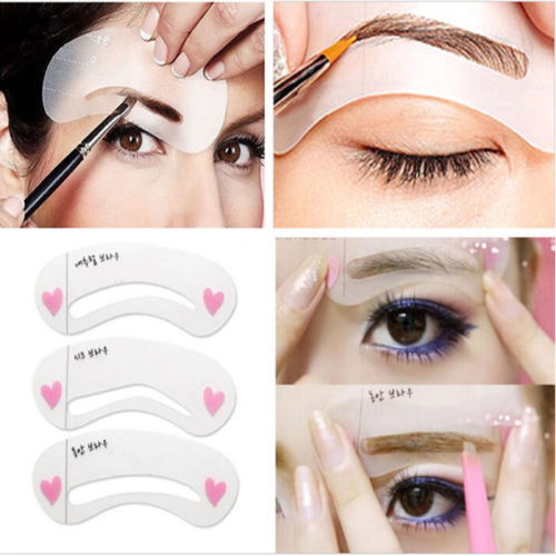 3 Styles Grooming Brow Painted Model Stencil Kit Shaping DIY Beauty Eyebrow Stencil Make Up Eyebrows Styling Tool(China (Mainland))